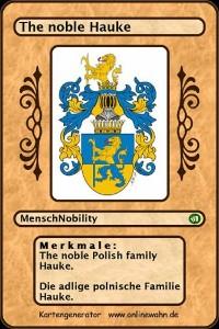 Cover The noble Polish family Hauke. Die adlige polnische Familie Hauke.