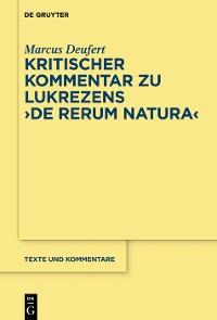 """Cover Kritischer Kommentar zu Lukrezens """"De rerum natura"""""""