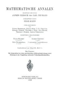 Cover Die Integralkurven einer gewohnlichen Differentialgleichung erster Ordnung in der Umgebung rationaler Unbestimmtheitsstellen