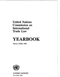 Cover United Nations Commission on International Trade Law (UNCITRAL) Yearbook 1992