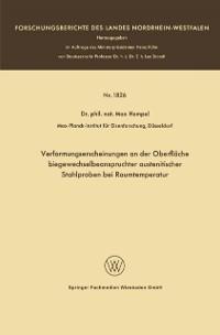 Cover Verformungserscheinungen an der Oberflache biegewechselbeanspruchter austenitischer Stahlproben bei Raumtemperatur