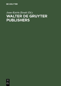 Cover Walter de Gruyter Publishers