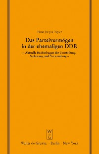 Cover Das Parteivermögen in der ehemaligen DDR
