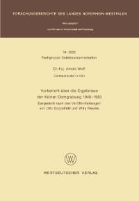 Cover Vorbericht uber die Ergebnisse der Kolner Domgrabung 1946 - 1983