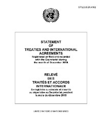 Cover Statement of Treaties and International Agreements/Relevé des traités et accords internationaux
