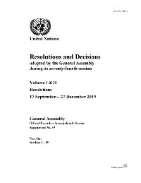 Cover Resolutions and Decisions adopted by the General Assembly During its Seventy-fourth Session