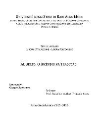 Cover Al Berto: o Incêndio na Tradução