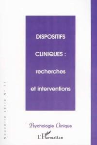 Cover DISPOSITIFS CLINIQUES : recherches et interventions