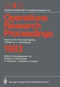 Cover Operations Research Proceedings 1982