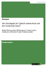 """Cover Der Deichgraf, der """"gleich einem Stein auf der Gemeinde lastet"""""""