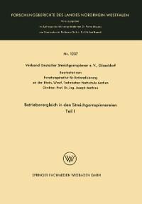 Cover Betriebsvergleich in den Streichgarnspinnereien