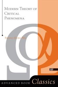 Cover Modern Theory Of Critical Phenomena
