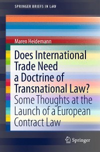 Cover Does International Trade Need a Doctrine of Transnational Law?