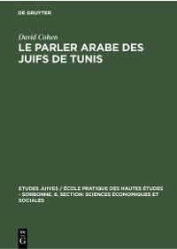 Cover Le parler arabe des Juifs de Tunis