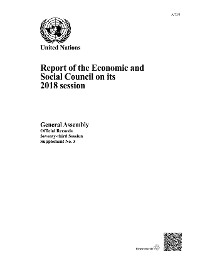 Cover Report of the Economic and Social Council on its 2018 Session