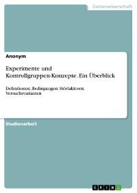 Cover Experimente und Kontrollgruppen-Konzepte. Ein Überblick