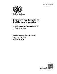 Cover Committee of Experts on Public Administration