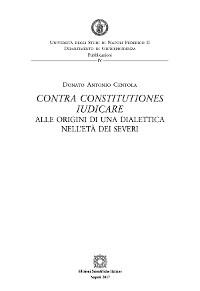 Cover Contra constitutiones iudicare. Alle origini di una dialettica nell'età dei severi
