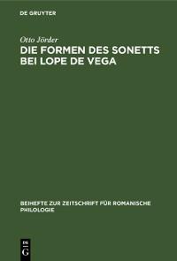 Cover Die Formen des Sonetts bei Lope de Vega