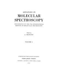 Cover Advances in Molecular Spectroscopy
