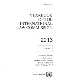 Cover Yearbook of the International Law Commission 2013, Vol. I