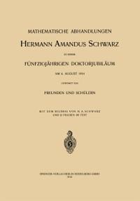 Cover Mathematische Abhandlungen Hermann Amandus Schwarz
