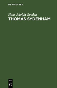 Cover Thomas Sydenham