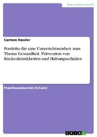 Cover Portfolio für eine Unterrichtseinheit zum Thema Gesundheit. Prävention von Rückenkrankheiten und Haltungsschäden