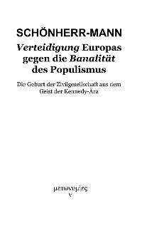 Cover Verteidigung Europas gegen die Banalität des Populismus