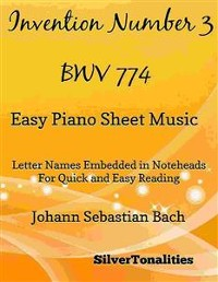 Cover Invention Number 3 BWV 774 Easy Piano Sheet Music