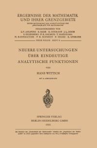 Cover Neuere Untersuchungen Uber Eindeutige Analytische Funktionen