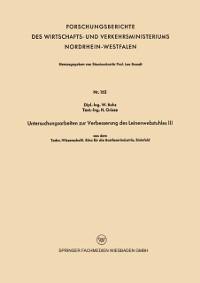 Cover Untersuchungsarbeiten zur Verbesserung des Leinenwebstuhles III