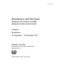 Cover Resolutions and Decisions Adopted by the General Assembly during its Seventy-second Session