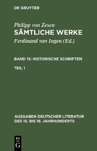 Cover Historische Schriften. Erster Teil