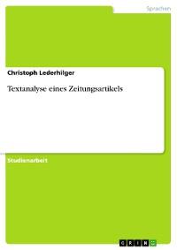 Cover Textanalyse eines Zeitungsartikels