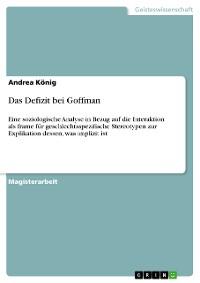 Cover Das Defizit bei Goffman