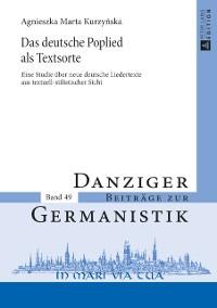 Cover Das deutsche Poplied als Textsorte