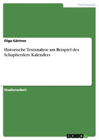 Cover Historische Textanalyse am Beispiel des Schapherders Kalenders