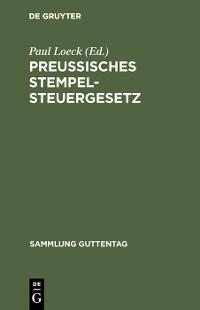 Cover Preußisches Stempelsteuergesetz