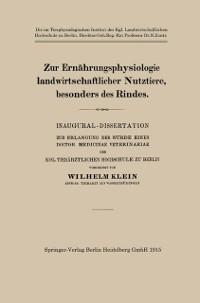 Cover Zur Ernahrungsphysiologie landwirtschaftlicher Nutztiere, besonders des Rindes