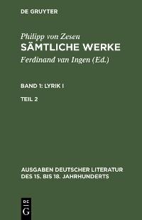 Cover Lyrik I. Zweiter Teil