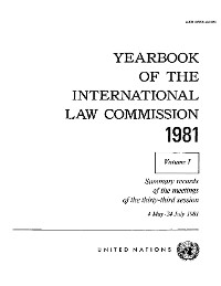 Cover Yearbook of the International Law Commission 1981, Vol. I