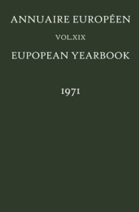 Cover Annuaire Europeen / European Yearbook