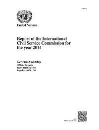 Cover Report of the International Civil Service Commission for the year 2014