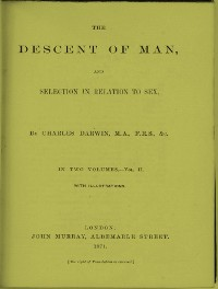 Cover The Descent of Man, and Selection in Relation to Sex