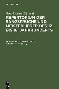Cover Katalog der Texte. Jüngerer Teil (S - V)