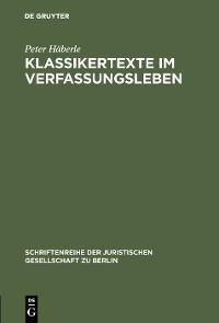 Cover Klassikertexte im Verfassungsleben