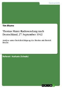 Cover Thomas Mann: Radiosendung nach Deutschland, 27. September 1942