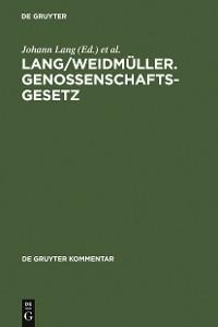 Cover Lang/Weidmüller. Genossenschaftsgesetz
