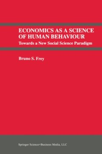 Cover Economics As a Science of Human Behaviour